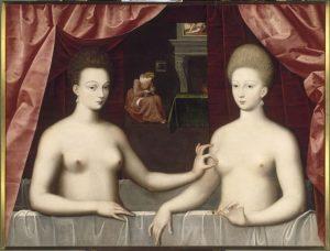"""""""Presumed Portrait of Gabrielle d'Estrées and Her Sister, the Duchess of Villars"""", artist unknown (Ecole de Fontainebleau), c. 1594, Louvre, Paris"""