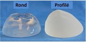 Rondes et des seins profilée implants